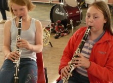Francesca & Rebecca playing the Clarinet at rehearsals